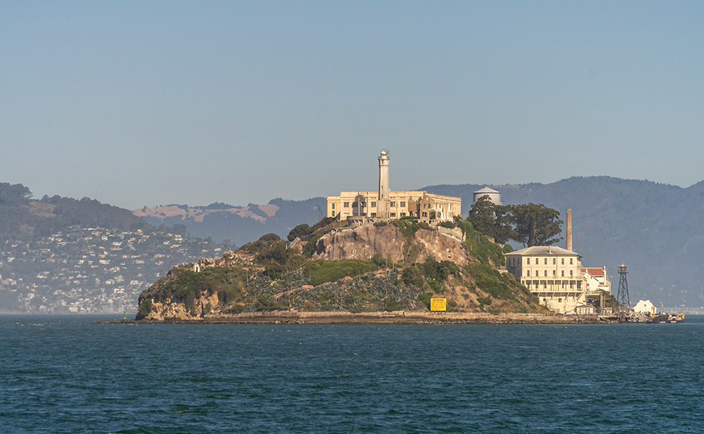 the view of alcatraz from the golden gate bay
